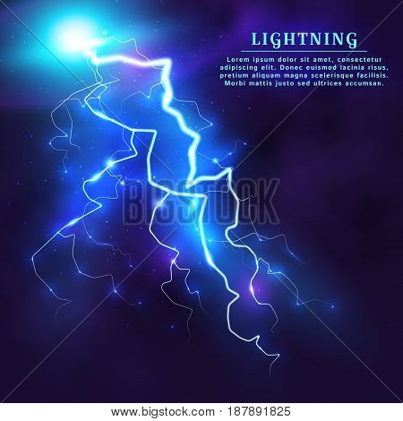 Lightning strike. A thunderbolt in the night sky. Storm background with place for text. Vector illustration.