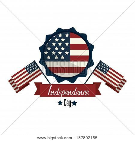 independence day with emblem and flags, vector illustration