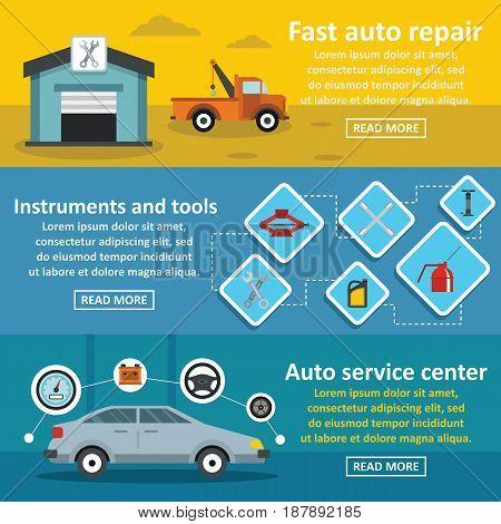 Auto car repair banner horizontal concept set. Flat illustration of 3 auto car repair vector banner horizontal concepts for web