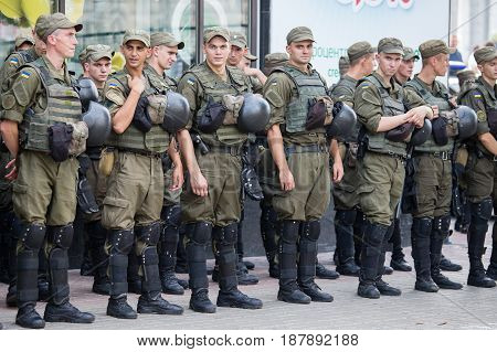 KIEV UKRAINE - JULY 27 2016 : Soldiers of the National Guard of Ukraine to maintain order during religious procession parishioners Ukrainian Orthodox Church Moscow Patriarchate