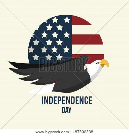 independence day emblem with eagle design, vector illustration