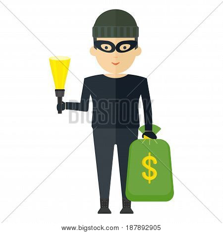 Thief in a dark invisible clothes mask and hat holding bag of money and flashlight. Successful bank robbery. Flat vector cartoon illustration. Objects isolated on a white background.