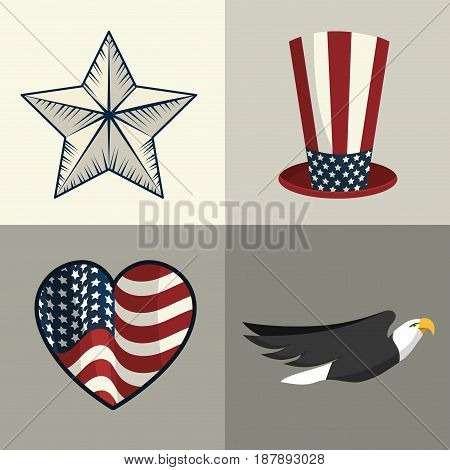 set elements to independence day tradition, vector illustration