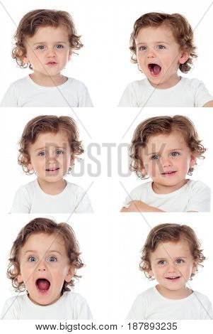 Sequence of portraits with a funny baby doing differents expressions isolated on a white background