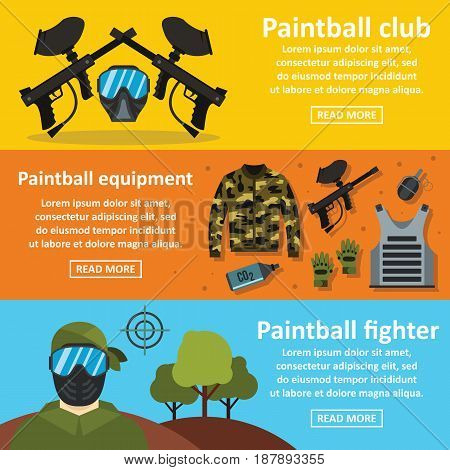 Paintball club banner horizontal concept set. Flat illustration of 3 Paintball club vector banner horizontal concepts for web
