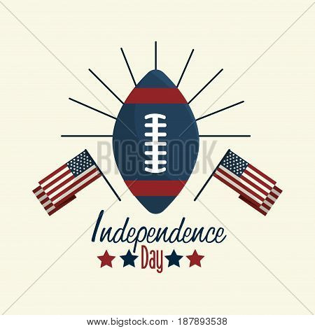 independence day with flag and american football, vector illustration