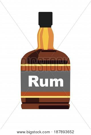 Vector illustration of bottle with dark rum isolated on white.