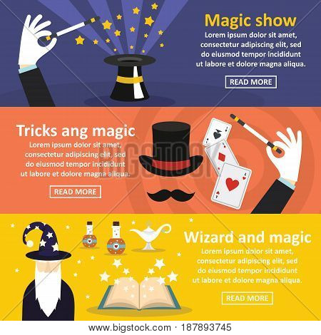 Magician show banner horizontal concept set. Flat illustration of 3 magician show vector banner horizontal concepts for web