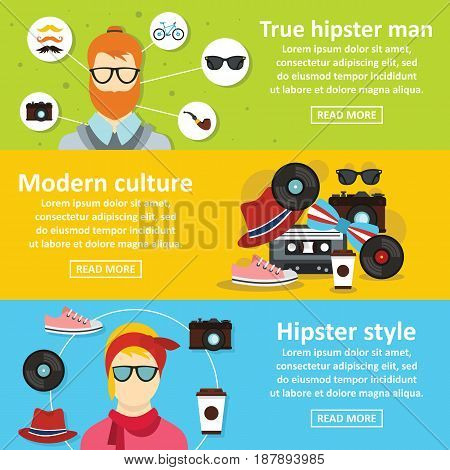 Hipster style banner horizontal concept set. Flat illustration of 3 hipster style vector banner horizontal concepts for web