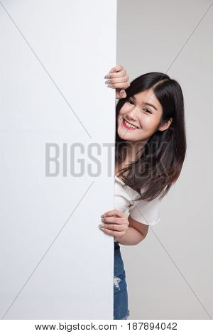 Young Asian Woman With Blank Sign.