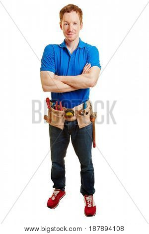 Artisan with a tool belt crossing his arms