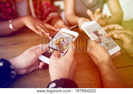 Hands Hold Using Mobile Phone Together