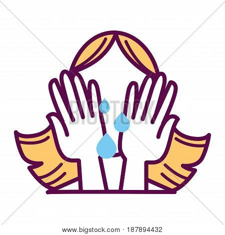 Vector illustration of woman closing face with hands and crying isolated on white.