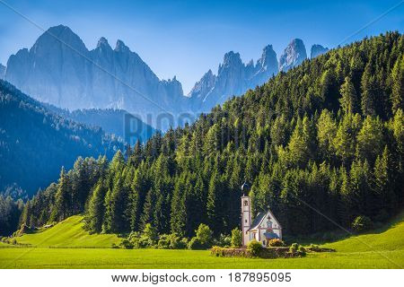 Church Of St. Johann Of Nepomuk With Odle Group In The Dolomites, South Tyrol, Italy