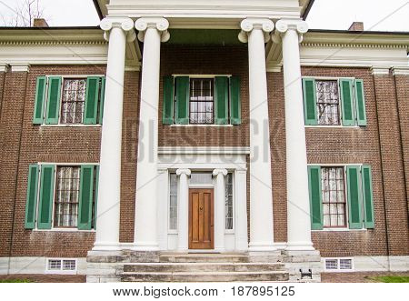 Lexington, Kentucky, USA - April 16, 2017: The historic Waveland Plantation is a Greek Revival style home now owned by the state of Kentucky and operated as a state park.