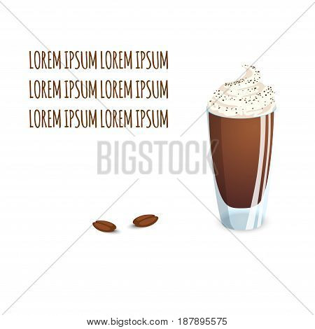 Transparent glass cup with coffee drink and beans on a white background