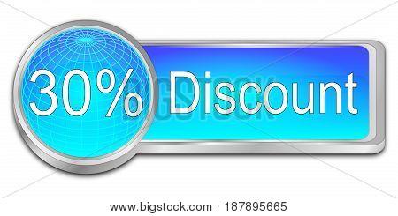 decorative blue 30% Discount button - 3D illustration