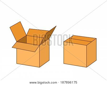 Cardboard box package open and closed, vector illustration