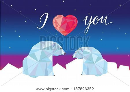Low poly polar bears sitting on ice and looking each other. Good for Valentine s day card.