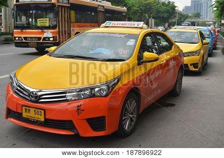 Taxi Driver Waiting For Passenger In Bangkok
