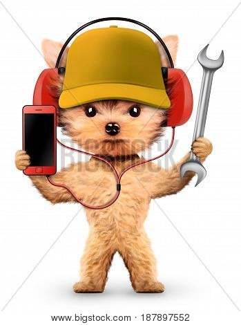 Funny dog in basebal cap with wrench isolated on white background. Constructor and handyman concept. 3D illustration with clipping path