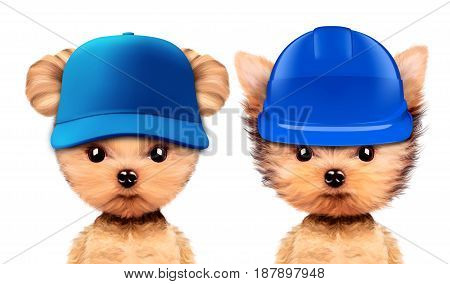 Funny puppies in hard hat and baseball hat isolated on white background. Constructor and handyman concept. Realistic 3D illustration