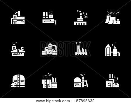 Industrial architecture and building. Factory, power plant, refinery and other facilities. Symbolic white glyph style vector icons collection on black.