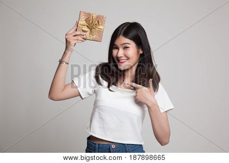 Young Asian Woman With A Gift Box.