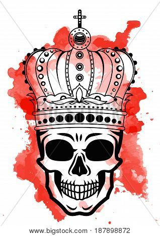 Line art hand drawing black skull with crown on had isolated on white background with red watercolor blots. Dudling style. Tatoo. Zenart. Coloring for adults. Vector illustration.