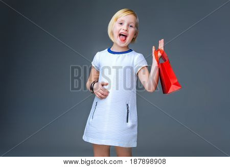 Smiling Elegant Girl On Grey With Red Christmas Shopping Bag