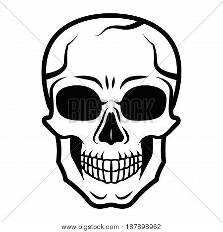 Line art black skull isolated on white background. Outline style. Tatoo. Modern print. Coloring for adults.. Vector illustration.