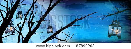 Ramadan. A lantern on a tree a lot. Light in the night sky. blue background. Islam. Translation of the text from Arabic: Ramadan . Silhouette of flaming lights against the background of a huge moon