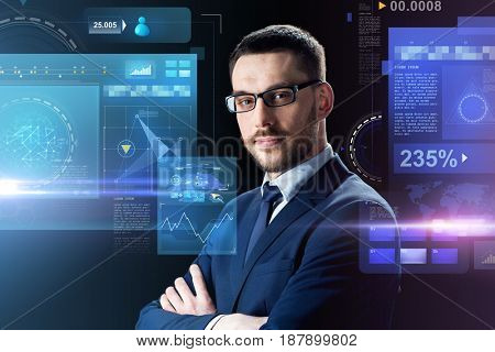 business, people and technology concept - businessman in glasses over black background with virtual screens