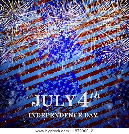 Colorful background from the USA flags and fireworks. Independence Day. Vector Illustration