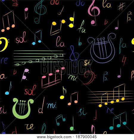 Seamless Pattern of Hand Drawn Set of Music Symbols. Colorful Doodle Treble Clef Bass Clef Notes and Lyre on Black. Sketch Style. Vector Illustration.