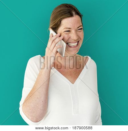 Caucasian Woman is Talking on the Phone