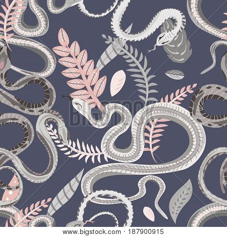 Seamless pattern with snakes and plants. Colorful wallpaper on a tropical theme on gray background