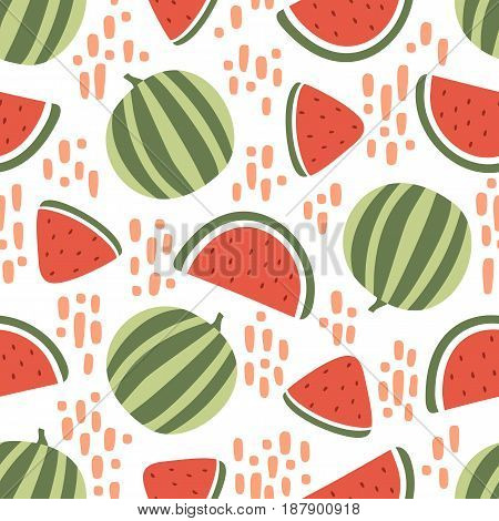 Watermelon seamless pattern with stains isolated on white background. Vector illustration