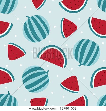 Watermelon seamless pattern isolated on blue background. Vector illustration