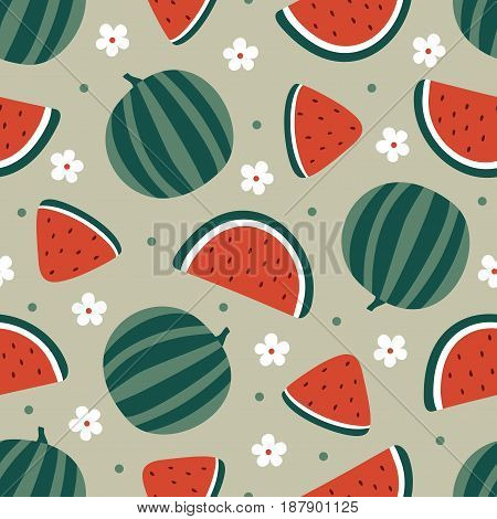Watermelon seamless pattern with flowers on beige. Vector illustration