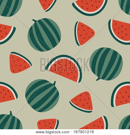 Watermelon seamless pattern isolated on beige background. Vector illustration