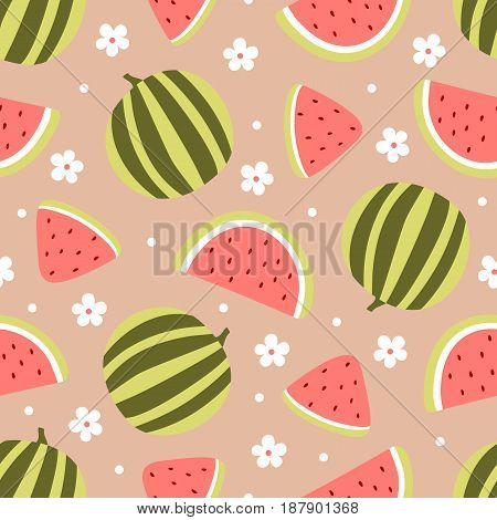 Watermelon seamless pattern with flowers isolated on peach background. Vector illustration