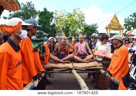 CHAIYAPHUM THAILAND - MAY 2 2017 : For the parade tradition is cruel ordination ceremony naga at home this is an ancient tradition who inherited the practice for hundreds of years.