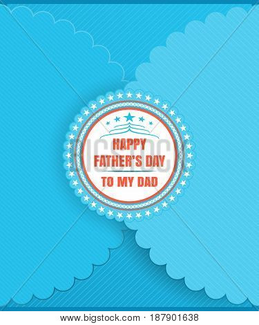 Greeting blue paper vector envelope for Father's Day with label lace edges and line pattern.
