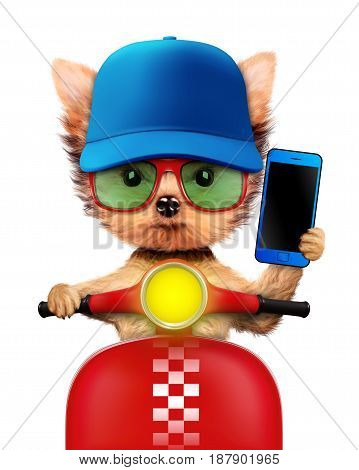 Funny puppy sitting on a motorbike and wearing baseball cap, isolated on white. Delivery concept. Realistic 3D illustration of yorkshire terrier