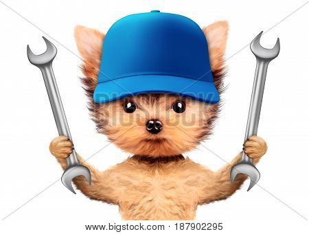 Funny dog with two wrenches and baseball cap isolated on white background. Constructor and handyman concept. 3D illustration