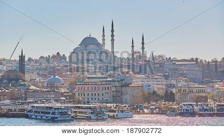 Istanbul, Turkey - 1 April, 2017: The Suleymaniye Mosque is an Ottoman imperial mosque in Istanbul, Turkey. It is the largest mosque in the city