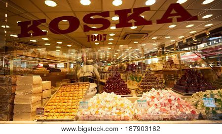 Istanbul, Turkey - 1 April, 2017: Different kinds of Turkish delight sweets at the Koska Market