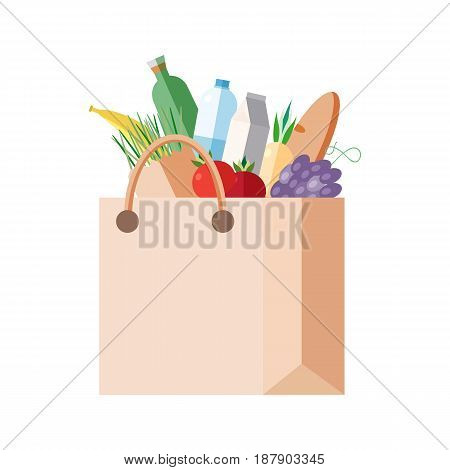 Paper bag with purchases. full packet with fresh food, vegetables, fruits, dairy products. Concept shopping in a grocery store, market. Colorful vector illustration