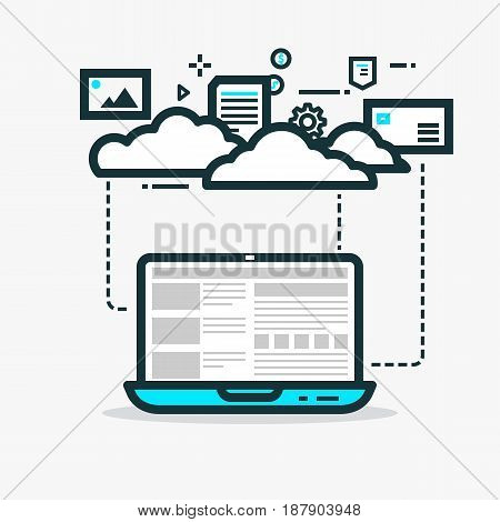 Cloud computing flat style line vector. Laptop with website and clouds. Media files photos gears and abstract dots. Abstract concept for web projects or applications. Dashed line circles.